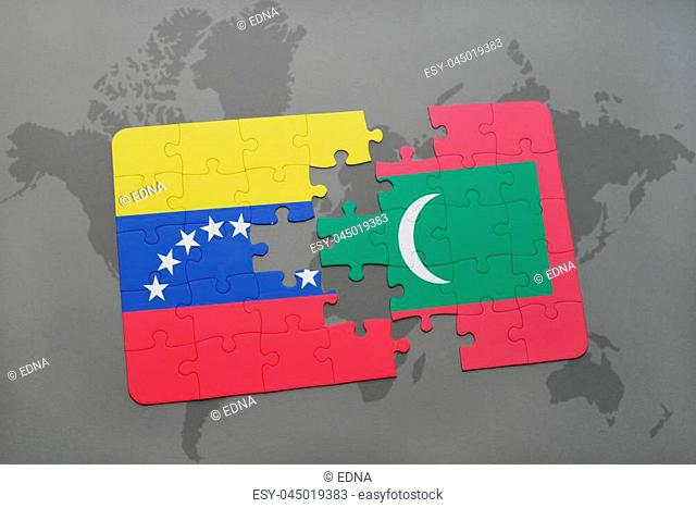 puzzle with the national flag of venezuela and maldives on a world map background. 3D illustration