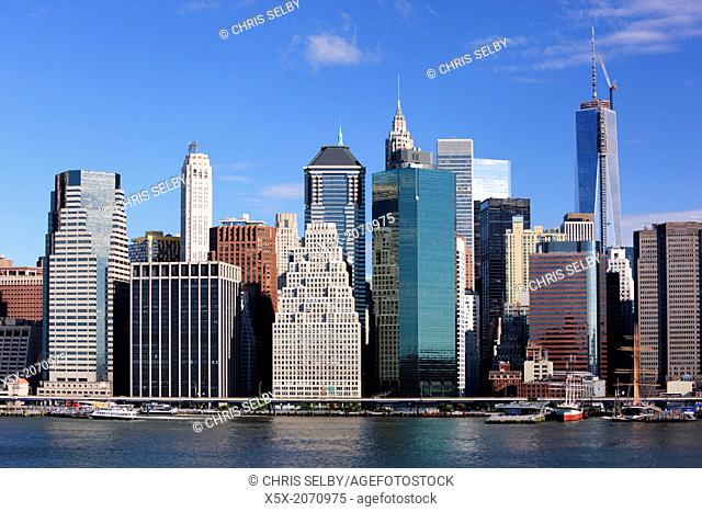 Freedom Tower rises above the Lower Manhattan skyline in New York city, USA
