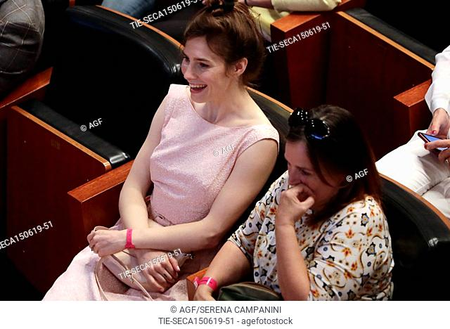 Amanda Knox with her mother, Edda Mellas, attend the conference of the Criminal Justice Festival at the University of Modena, Italy, 15 June 2019