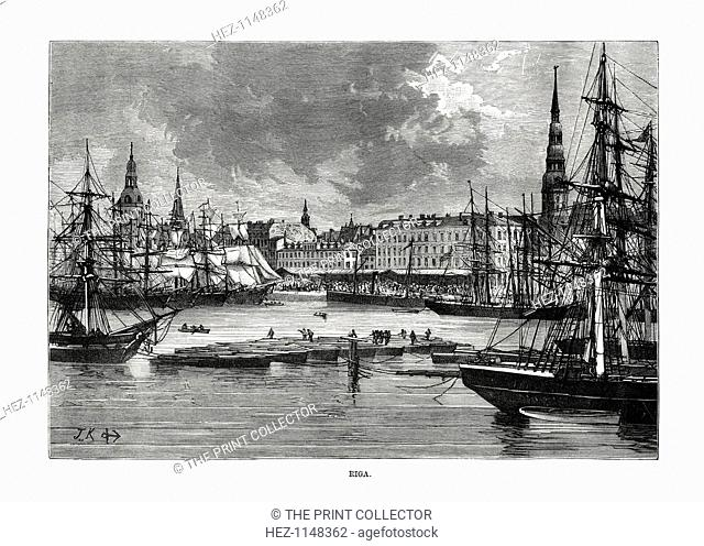 Riga, Latvia, 1879. View of the ships and the waterfront of the Latvian capital