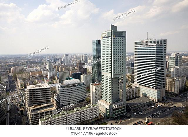 'Intercontinental' C and 'Warsaw Financial Center' R  The view is from the Palace of Culture and Science, Warsaw Poland