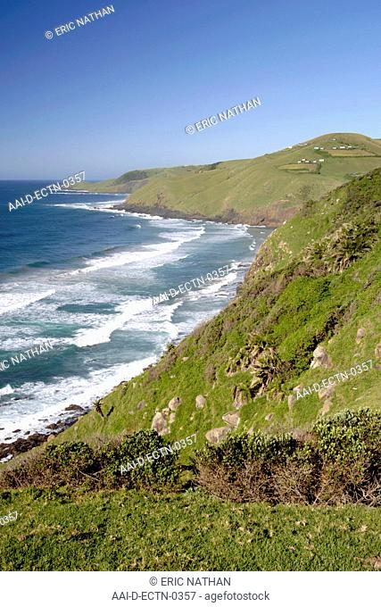 Coastal scenery between Coffee Bay and Hole in the Wall in a region of South Africa's Eastern Cape Province formerly known as the Transkei