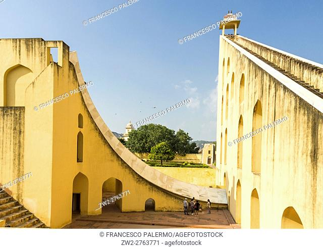 The Jantar Mantar structures are an equinoctial sundial. Jaipur, Rajasthan. India