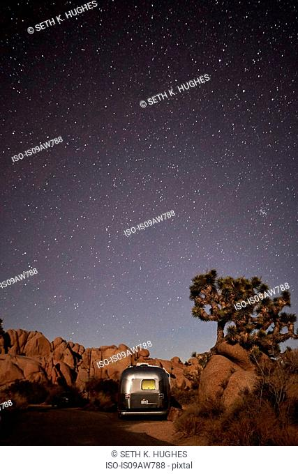 Travel trailer at Joshua Tree National Park, California