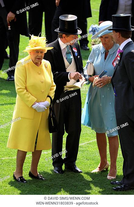 Royals arrive at Royal Ascot 2017 held at Ascot Racecourse - Day 2 Featuring: Queen Elizabeth II, Camilla, Duchess of Cornwall, John Warren Where: Ascot
