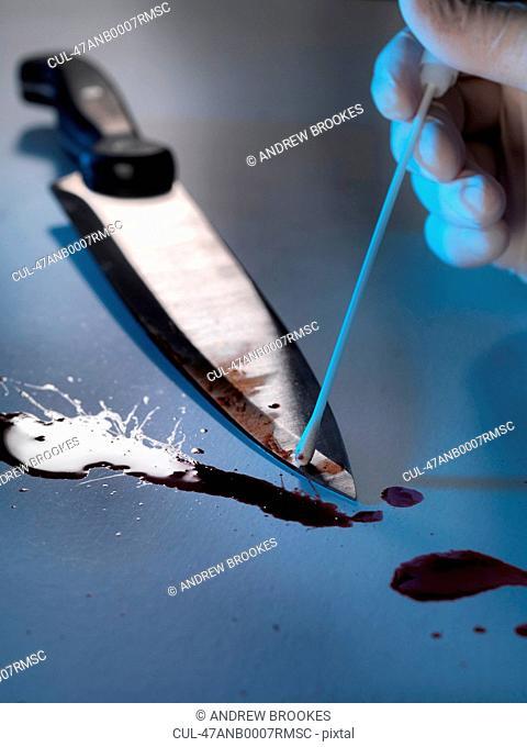 Scientist swabbing bloody knife