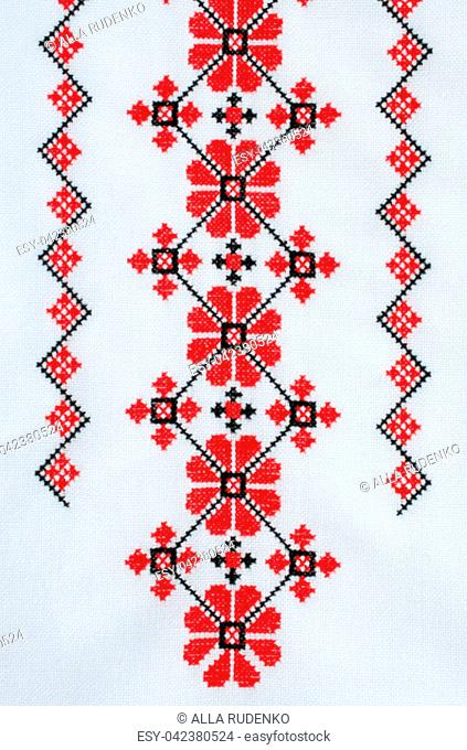Element Handmade Embroidery on White Linen by Red and Black Cotton Threads. Design of Ethnic Textures. Pattern Craft Embroidery By Cross Stitch