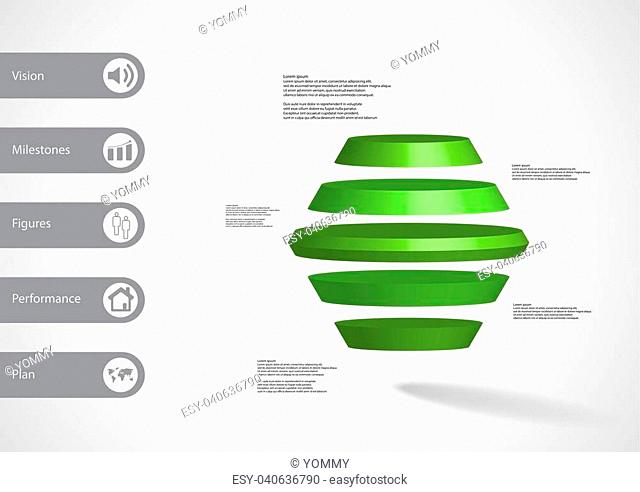 3D illustration infographic template with motif of round hexagon horizontally divided to five green slices with simple sign and text on side in bars