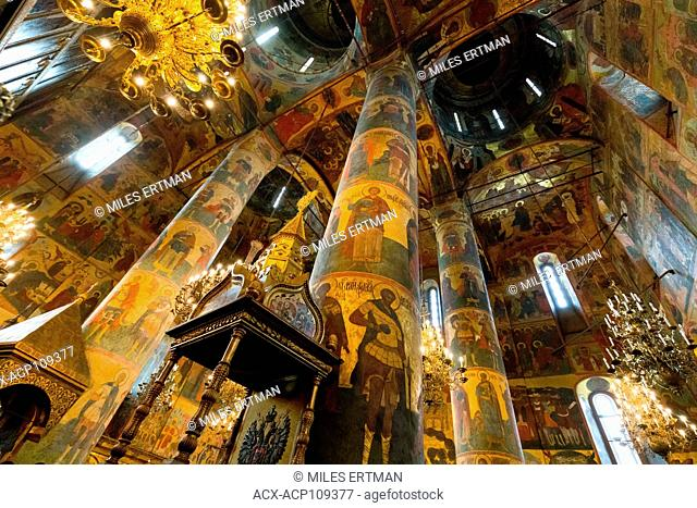 Interior of Annunciation Cathedral, Kremlin, Moscow, Russian Federation