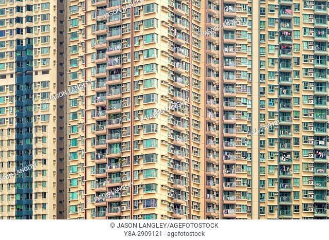 Apartment block towers in Tseung Kwan O, Sai Kung District, New Territories, Hong Kong, China