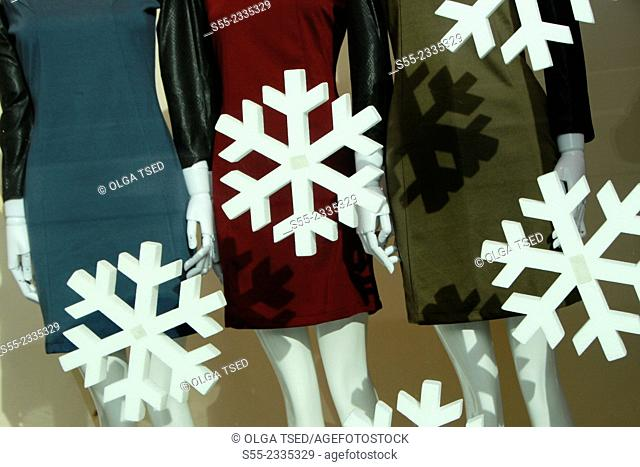 Mannequins and snowflakes. Barcelona, Catalonia, Spain
