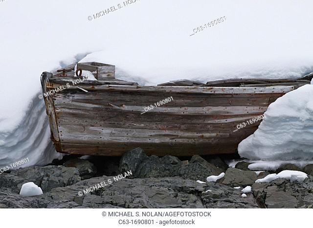 Abandoned water boat from 20th century whaling efforts in Foyn Harbor in the Enterprise Islands, Antarctica, Southern Ocean