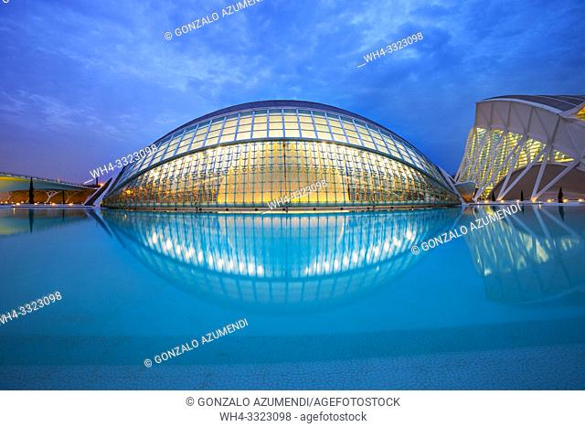 In the foreground Hemisferic. In the background Principe Felipe Science Museum. City of Arts and Sciences. . Architect Santiago Calatrava. Valencia