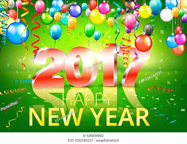 Happy New Year 2017 bright green greeting card with 3D glossy numbers and balloons. Vector template