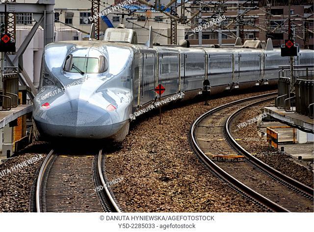 Shinkansen arriving from Okayama to Shin-Osaka train station, Japan