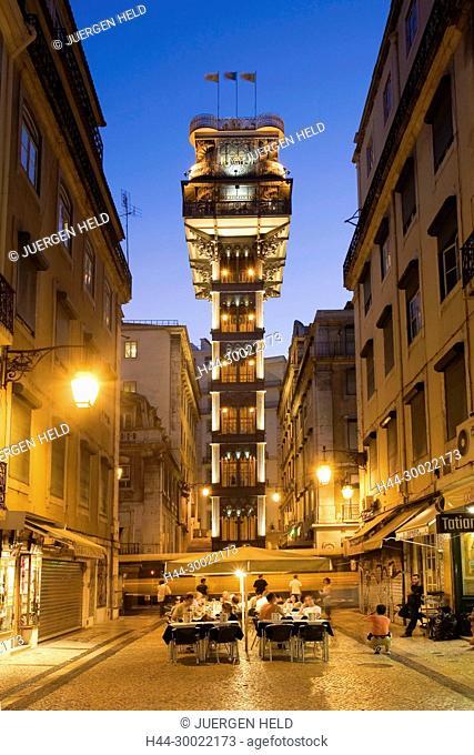 Portugal, Lisbon,Baixa Chiado Elevator de Santa Justa in twilight . Built in 1902 by Raul Mesnier du Ponsard , new gotic style