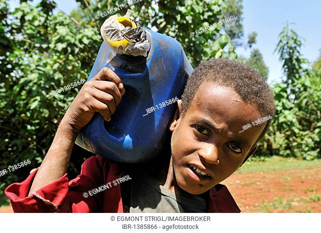 African boy carrying a canister for drinking water, Rift Valley, Oromia, Ethiopia, Africa