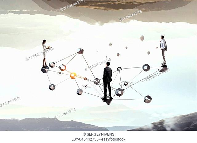 Group of businesspeople and social connection concept. Mixed media