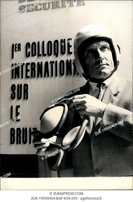 Apr. 04, 1959 - Introducing 'Anti Noise' Helmet. The first international 'Anti Noise' conference is now being held here in Paris