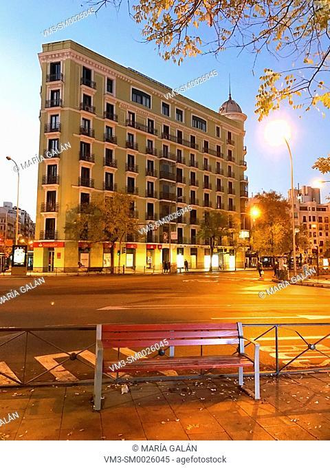 Goya street, night view. Madrid, Spain