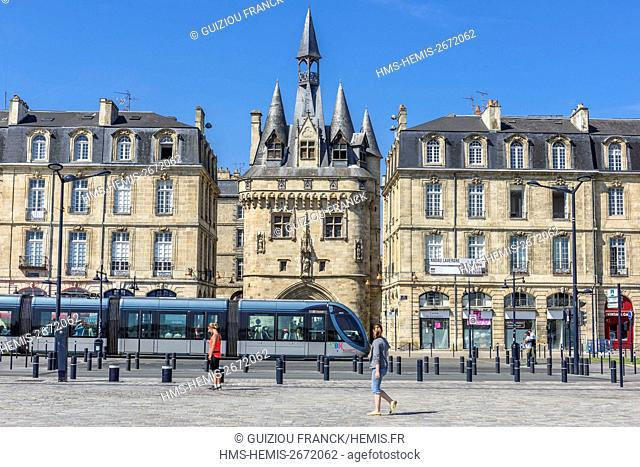 France, Gironde, Bordeaux, area listed as World Heritage by UNESCO, 15th century Gothic Porte Cailhau or Porte du Palais, C line tramway