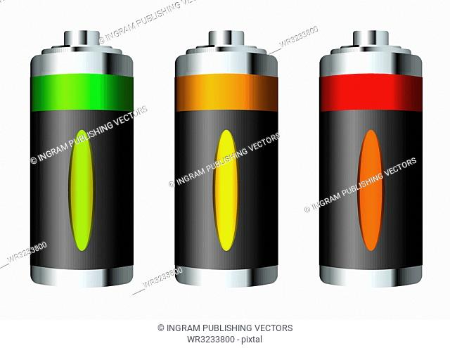 Three silver green batteries with power level window
