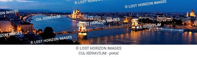 Panoramic view of the Parliament and Chain Bridge at night, Hungary, Budapest