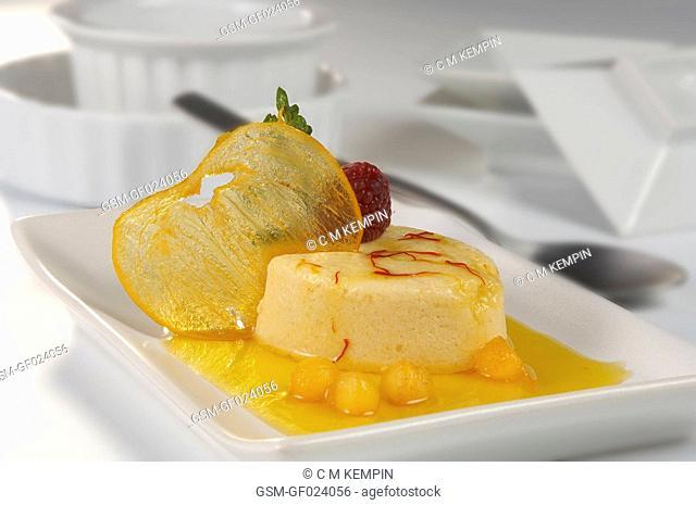 Kaki persimon mousse with saffron syrup