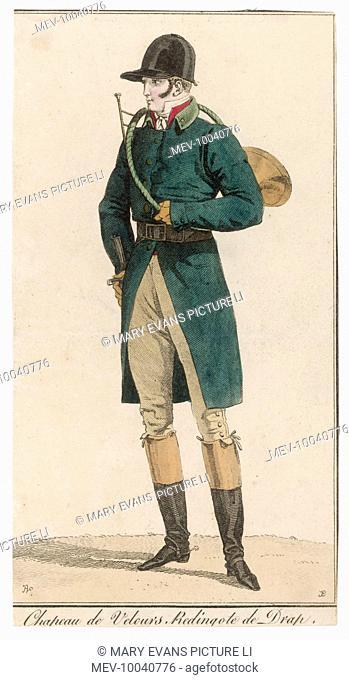 Single-breasted green coat cut away below the waist, cuffs unbuttoned, stand-fall collar & leather belt, red waistcoat, cravat, breeches, top boots, spurs