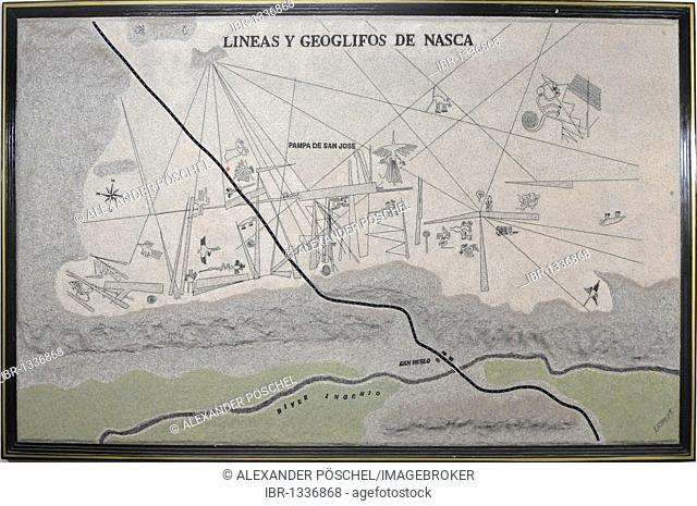 Map showing an overview of the Nazca Lines, Nazca, Inca, Peru, South America, Latin America