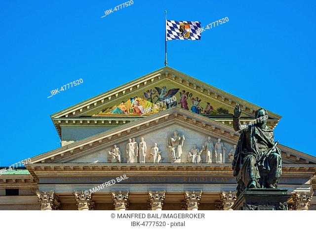 Gable of the Bavarian State Opera with Max Joseph Monument, Munich, Upper Bavaria, Bavaria, Germany