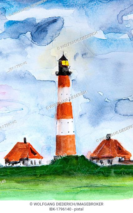 Lighthouse, Westerheversand, North Sea, North Frisia, Schleswig-Holstein, northern Germany, painted in watercolours by Gerhard Kraus, Kriftel, Germany