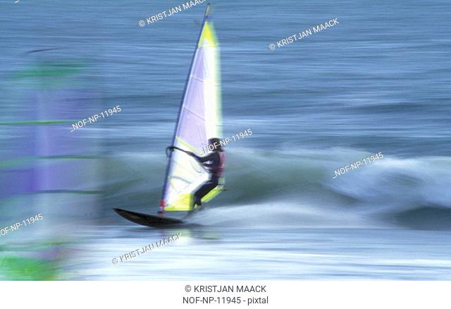 A person windsurfing
