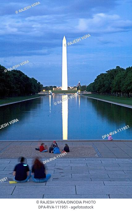 A 555 ft tall Washington monument rises above the mall in Washington dc ;  U.S.A. United States of America