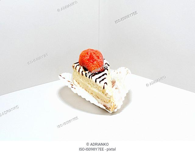 Slice of cake with strawberry