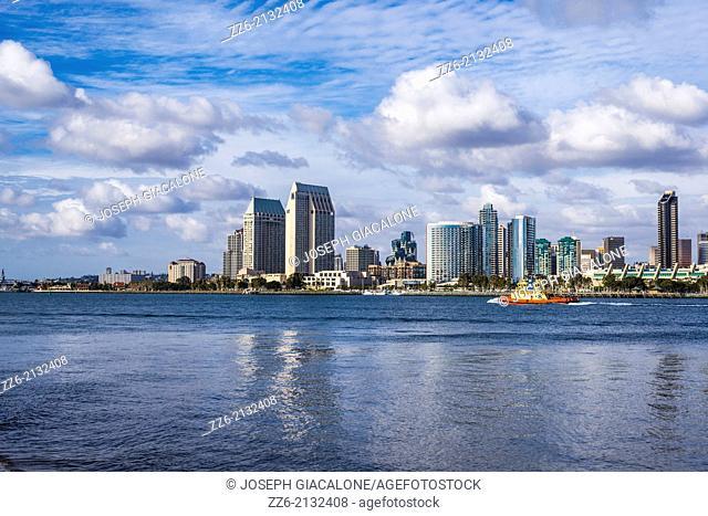 San Diego Skyline and Harbor. Photographed from Coronado, California, United States