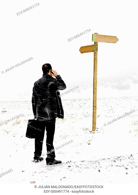Businessman deciding which road to take on their business., Businessman deciding which road to take on their business