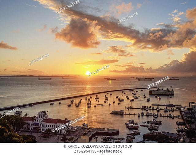 Sunset over Bay of All Saints, Salvador, State of Bahia, Brazil