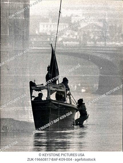 Aug. 17, 1966 - Shot Policemen: Search for murder weapon. Photo shows one of a team of river police divers , goes down under Lambeth bridge at low water this...