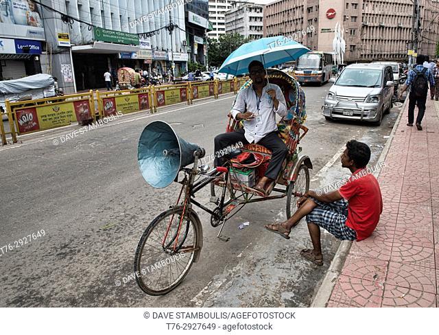 Rickshaws are the only way to get around in Old Dhaka, Bangladesh