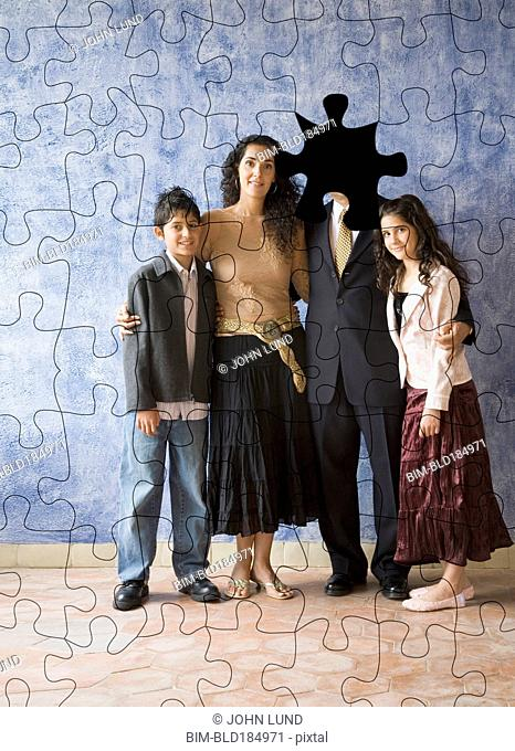 Hispanic family puzzle with missing father