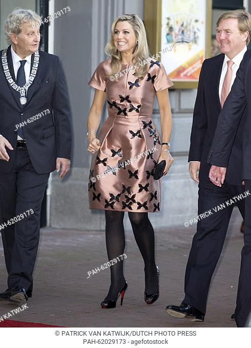 King Willem-Alexander (R), Queen Maxima of The Netherlands and Eberhard van der Laan, mayor of Amsterdam, attend the closure event of the celebration of 200...