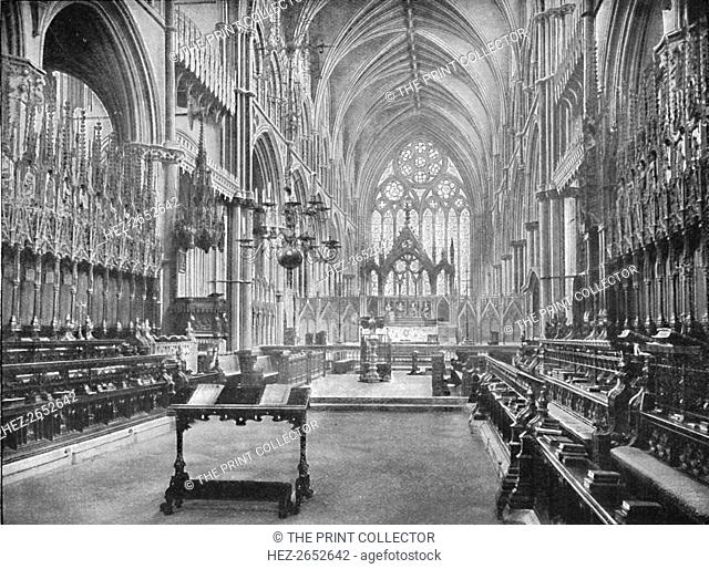 'The Choir, Lincoln Cathedral', 1902. From Social England, edited by H.D. Traill, D.C.L. and J. S. Mann, M.A. [Cassell and Company, Limited, London, Paris
