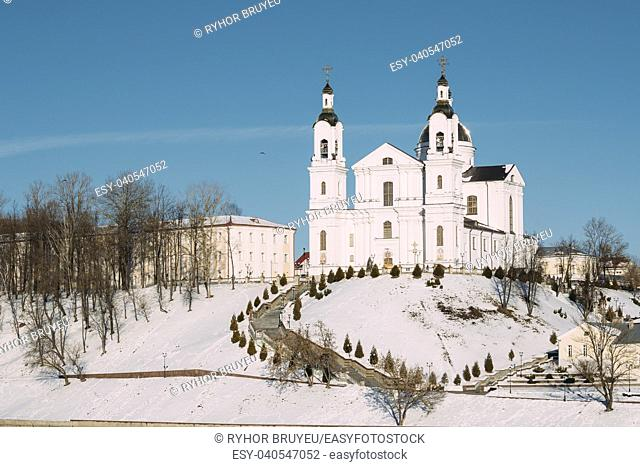 Vitebsk, Belarus. Famous Landmark Is Assumption Cathedral Church In Upper Town On Uspensky Mount Hill In Sunny Winter Day. Historic Heritage