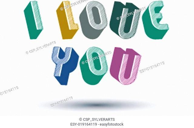 I Love You 3d retro phrase