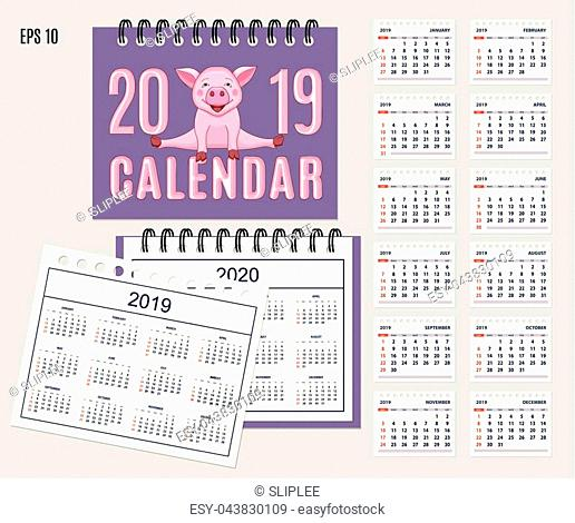 Desk calendar year 2019 with cute cartoon piggy on cover. Set of 12-month isolated pages and full calendar year 2019, 2020. English language