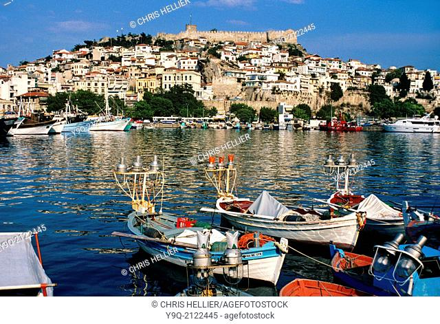 Old Town and Port or Harbour with Fishing Boats Kavalla eastern Macedonia Greece