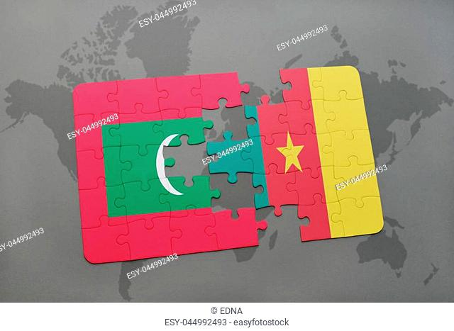 puzzle with the national flag of maldives and cameroon on a world map background. 3D illustration