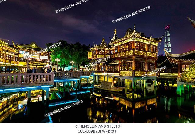 Tea house in Yu Garden at night, Shanghai, China