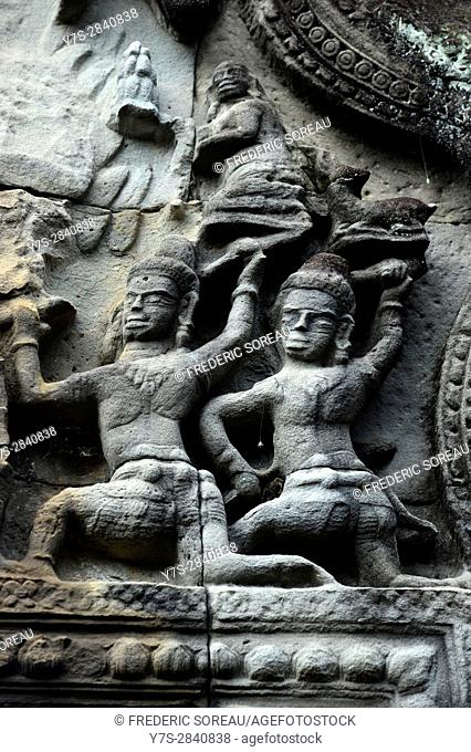 Bas relief,Banteay Samre temple,Angkor,Siem Reap Province,Cambodia,Indochina,Southeast Asia,Asia